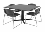 "48""x48"" Table and 4 Zeng Stack Chairs Set - TBS48GYSC44"