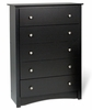 5 Drawer Chest in Black - Sonoma Collection - Prepac Furniture - BDC-3345