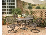 5-Piece 48 Inch Round Outdoor Dining Set in Rust Brown - Home Styles - 5555-325