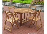 5-Piece Outdoor Table and Chair Set in Natural - Merry Products - MPG-TBS01-TB-CH-SET