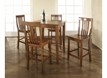 5-Piece Pub Dining Set with Cabriole Leg and School House Stools in Classic Cherry Finish - Crosley Furniture - KD520003CH