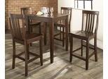5-Piece Pub Dining Set with Tapered Leg and School House Stools in Vintage Mahogany Finish - Crosley Furniture - KD520007MA