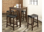 5-Piece Pub Dining Set with Tapered Leg and Upholstered Saddle Stools in Vintage Mahogany Finish - Crosley Furniture - KD520008MA