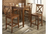 5-Piece Pub Dining Set with Tapered Leg and X-Back Stools in Classic Cherry Finish - Crosley Furniture - KD520005CH
