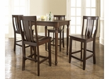 5-Piece Pub Dining Set with Turned Leg and Shield Back Stools in Vintage Mahogany Finish - Crosley Furniture - KD520010MA