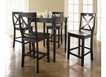 5-Piece Pub Dining Set with Turned Leg and X-Back Stools in Black Finish - Crosley Furniture - KD520009BK