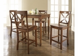5-Piece Pub Dining Set with Turned Leg and X-Back Stools in Classic Cherry Finish - Crosley Furniture - KD520009CH