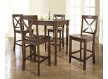 5-Piece Pub Dining Set with Turned Leg and X-Back Stools in Vintage Mahogany Finish - Crosley Furniture - KD520009MA
