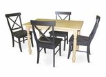 5-Piece Set - Table with 4 X-Back Chairs in Natural / Black - K01-3048-C613-4