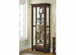 5 Shelf Curio Cabinet with Can Lighting in Medium Brown - 950187