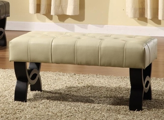 """5012 Central Park 24"""" Tufted Ottoman in Cream Leather - Armen Living - LC5012BEBCCR24"""