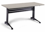 51 Inch Adjustable Rectangular Table in Nebula Gray - Mayline Office Furniture - TT72RANGRBLK