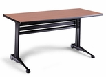 51 Inch Adjustable Rectangular Table in Pearwood - Mayline Office Furniture - TT72RACRPBLK