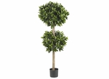"""57"""" Sweet Bay Double Ball Topiary Silk Tree - Nearly Natural - 5311"""
