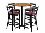 5PC 24'' Round Natural Table Set with 4 Metal Bar Stools - Burgundy Vinyl Seat - HDBF1039-GG