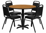 5PC 36'' Round Natural Table and 4 Trapezoidal Back Banquet Chairs - HDBF1003-GG