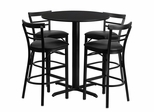 5PC Table Set with 24'' Round Black Table and 4 Ladder Back Metal Bar Stools - HDBF1033-GG