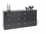 6 Drawer Dresser in Black - Prepac Furniture - BBD-5828