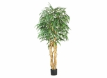 6' Weeping Ficus Silk Tree in Green - Nearly Natural - 5213
