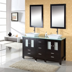 "60"" Espresso Double Sink Bathroom Vanity - Virtu USA ..."