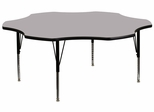 60'' Flower Shaped Activity Table with Grey Laminate Top - Pre-School Legs - XU-A60-FLR-GY-T-P-GG