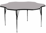 60'' Flower Shaped Standard Height Activity Table with Grey Laminate Top - XU-A60-FLR-GY-T-A-GG