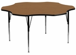 60'' Flower Shaped Standard Height Activity Table with Oak Laminate Top - XU-A60-FLR-OAK-T-A-GG
