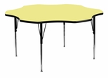 60'' Flower Shaped Standard Height Activity Table with Yellow Laminate Top - XU-A60-FLR-YEL-T-A-GG