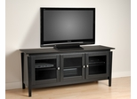 60 Inch Flat Panel LCD / Plasma TV Console with 3 Glass Doors in Black - Vinci - Prepac Furniture - BVG-6026