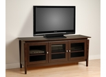 60 Inch Flat Panel LCD / Plasma TV Console with 3 Glass Doors in Espresso - Vinci - Prepac Furniture - EVG-6026