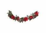 """60"""" Poinsettia and Berry Garland - Nearly Natural - 4916"""