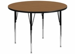 60'' Round Activity Table, Oak Thermal Fused Laminate Top & Standard Height Adjustable Legs - XU-A60-RND-OAK-T-A-GG
