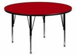 60'' Round Activity Table, Red Thermal Fused Laminate Top & Height Adjustable Pre-School Legs - XU-A60-RND-RED-T-P-GG