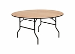 "60"" Round Wood Folding Banquet Table with Clear Coated Finished Top - YT-WRFT60-TBL-GG"