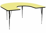 60''W x 66''L Horseshoe Yellow Activity Table with Standard Height Adjustable Legs - XU-A6066-HRSE-YEL-T-A-GG
