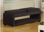 6019 Cancun Double Tray Bench in Black Microfiber - Armen Living - LC6019BEMFBL