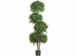 """69"""" Sweet Bay Topiary with 4 Balls Silk Tree - Nearly Natural - 5244"""