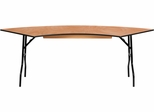 7.25 ft. x 2.5 ft. Serpentine Wood Folding Banquet Table  - YT-WSFT60-30-SP-GG