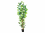 7' Curved Bamboo Silk Tree in Green - Nearly Natural - 5189
