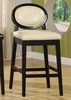 """7015 Martini 26"""" Stationary Barstool in Creme Leather / Black - Armen Living - LC7015BACR26"""