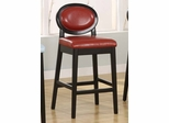 """7015 Martini 30"""" Stationary Barstool in Red Leather / Black - Armen Living - LC7015BARE30"""