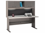 """72"""" Desk and Hutch Set - Series A Pewter Collection - Bush Office Furniture - WC14572-73"""