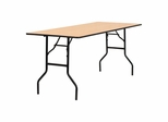 "72"" Rectangular Wood Folding Banquet Table with Clear Coated Finished Top - YT-WTFT30X72-TBL-GG"