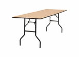 "96"" Rectangular Wood Folding Banquet Table with Clear Coated Finished Top - YT-WTFT30X96-TBL-GG"