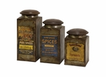 Addie Vintage Label Wood And Metal Canisters (Set of 3) - IMAX - 73046-3