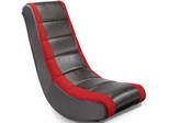 Adult Video Rocker Black with Red Mesh Racing Stripe