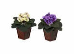 African Violet with Vase Silk Plant (Set of 2) - Nearly Natural - 6685-S2