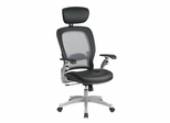Air Grid Back Executive Leather Chair - Office Star - 36806