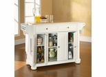 Alexandria Natural Wood Top Kitchen Island in White Finish - Crosley Furniture - KF30001AWH