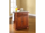 Alexandria Stainless Steel Top Portable Kitchen Island in Classic Cherry - CROSLEY-KF30022ACH